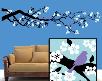 Cherry Blossoms Vinyl Wall Decal: Large Tree Branch with White Flowers and Lavender Birds