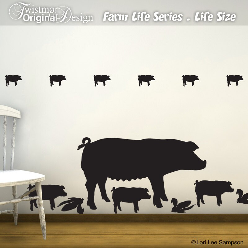 Pig wall decals farm life farm animal wall decals barnyard for Barnyard wall mural