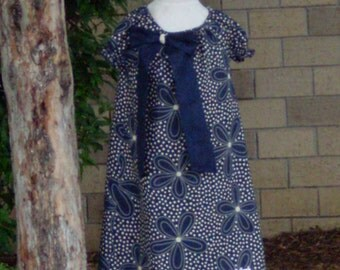 Navy Daisies Peasant Dress, Size 5-6 OOAK