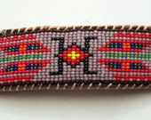 Native American Wetland Inspired Beaded Barrette Hair Clip on Brown Leather