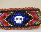 Blue Calavera Mexican Skull Beaded Bracelet on Deer Hide, Huichol Inspired