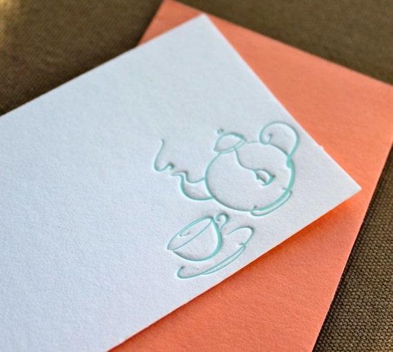 Tea Letterpress Enclosure Card