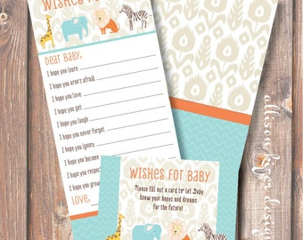 Baby Boy Safari Animals Baby Wishes Boho Chic Ikat African Safari Printable Wishes for Baby Game - INSTANT DOWLOAD