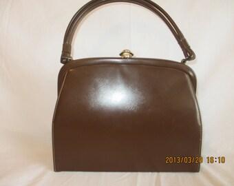 Vintage 50's Brown Vinyl Handbag