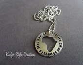 Africa cut out hand stamped necklaceGo and make disciples of all nation