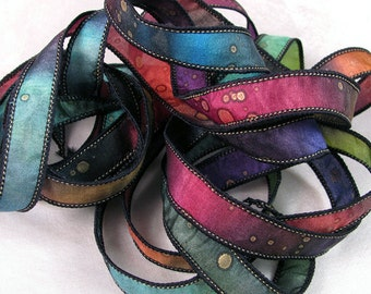 Hand Dyed Ribbon, Silk Ribbon, Ribbon bracelet, , Silk Wrist Wrap, Quintessence - Galaxy