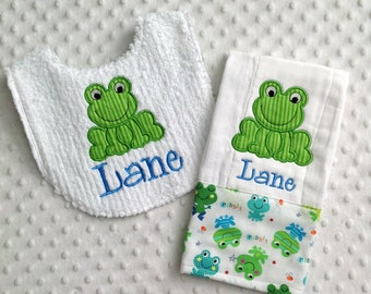 Baby Boy Personalized  Gift Set  - Bib and Burp Cloth, Happy Smiling Frog - Ribbit