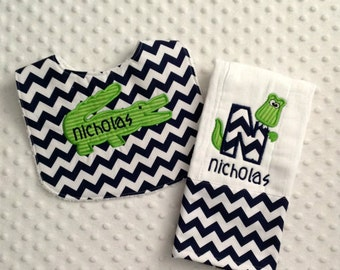 Baby Boy 2 PC Gift Set, Embroidered Bib and Burp Cloth, Alligator Applique Personalized with Child's Name