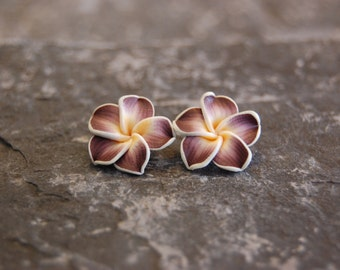 Polymer clay plumeria flower stud earrings