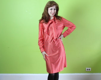 Dress 1960s 1970s Vintage 60s 70s Red Polka Dot  Shift Neck Bow M Medium  S Small