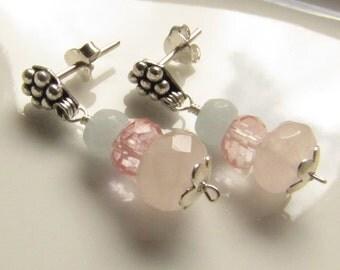 Pink Quartz, Cherry Quartz and Aquamarine Sterling Silver Post Earrings, Gemstone Earrings, Drops