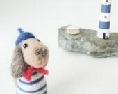 Needle Felted Animal , Le petit chien - wool felt miniature dog