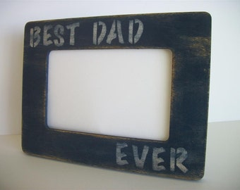 DAD Picture Frame Blue Distressed  Rustic Primitive Wood Best Dad Ever Fathers Day