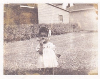 Vintage Photo - Little Gal with Cookie - Vintage Photograph, Vernacular, Found Photo  (O)