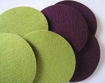 Half Dozen Green & Plum Coaster Set, Eggplant Drink Coaster Set, Aubergine Felt Coasters