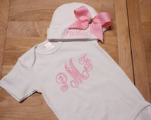Pink Monogram on White Bodysuit and Hat with Large Pink Polka Dot Bow Coming Home Outfit