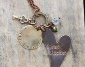 Mixed metal best friends heart design necklace