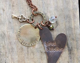 Mixed metal best friends heart design necklace