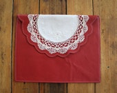 NZFINCH Red LEATHER iPad case, vintage doily