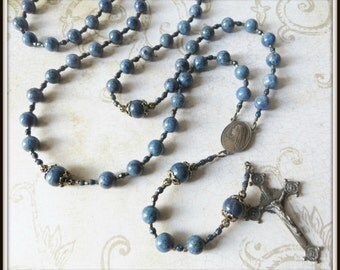 Handmade Mens Large Bead Bronze Catholic Rosary in Blue Dumortierite Gemstone