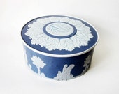 Blue and White Biscuit Tin - Vintage Guildcraft Wedgewood-Style - Latrouvaille