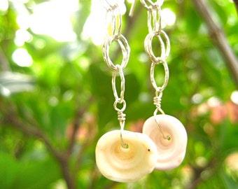 Hawaiian Puka Shell Earrings, Shell Earrings, Surfer Jewelry, Sterling Silver Earrings