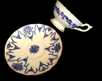 Coalport Fine English Bone China Tea Cup and Saucer Set, Deep Blue on Pure White with Gold Trim