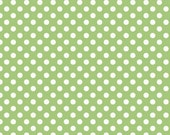 ON SALE 1 yard RIley BLake Green Small Dots
