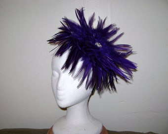 Royal Purple Feather Fascinator Headband Hat