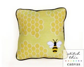honey bee graphic modern needlepoint canvas - diy - contemporary