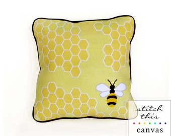 honey bee graphic modern needlepoint canvas - diy - contemporary