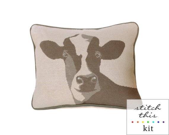 happy cow rustic modern needlepoint kit - diy - contemporary