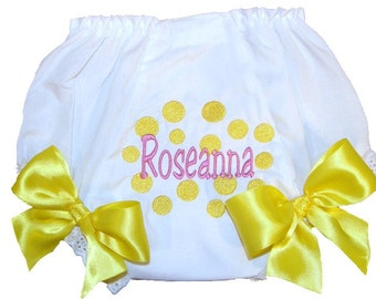 Personalized Baby Girl Diaper Cover, Bloomers Bright Yellow Dots Design Free Shipping
