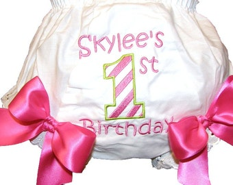 Personalized Birthday 1st 2nd 3rd Candy Stripe Bloomers, Diaper Cover