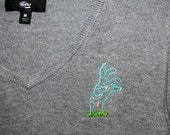 Rescued Gray Thrift Store Sweater with Hand-Stitched Zombie Hand
