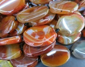 Brownish Red Black Stripe Agate Flat Oval beads 20x30mm -12pcs/Strand