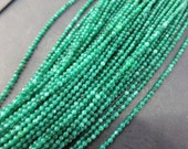 5 str- Tiny 2mm round Emerald Green Jade Beads - No9