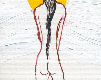 Mary waiting for the annunciation - Hand-signed ACEO art print of an original pen and ink drawing