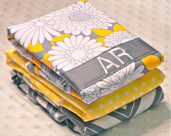 SALE Personalized Burp Cloth Set - Set of 3 Personalized Baby Burp Cloths Baby Girl Gray Yellow Flowers Chevron Polka Dots