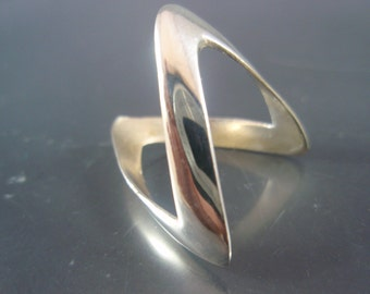 Israel Delini Designers Hand Made Art Modern Zigzag Solid Silver Sterling Ring