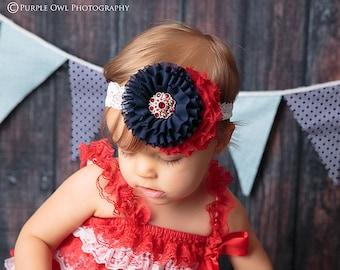4th of July headband, baby headband, patriotic baby headband, red white and blue headband, fourth of july headband