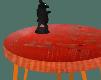 Table with bear figurine