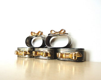 Napkins Rings Silver Plated with Gold Bows Vintage