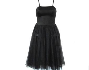 80s 90s Black sheer mini dress size - S