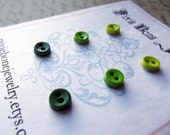 Mini Button Earrings Posts - Tiny Buttons in Dark Olive Green, Seaweed Green, and Light Green - Small Earring Studs - Forest Collection