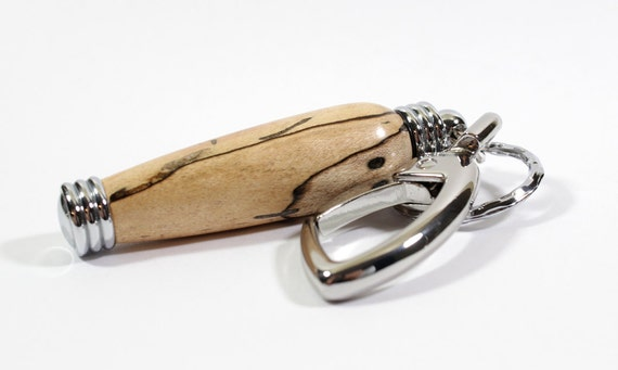 Bag Charm / Secret Compartment Key Chain - Spalted Maple with Chrome Accents