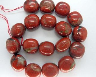 Beautiful Large Red Jasper Polish Oval Beads FULL STRAND