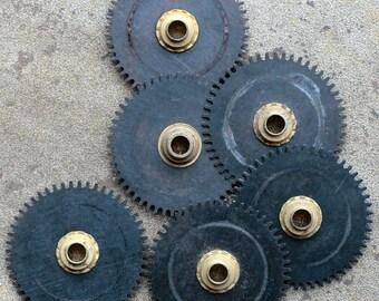 Vintage clock gears -- black -- set of 6 -- D12