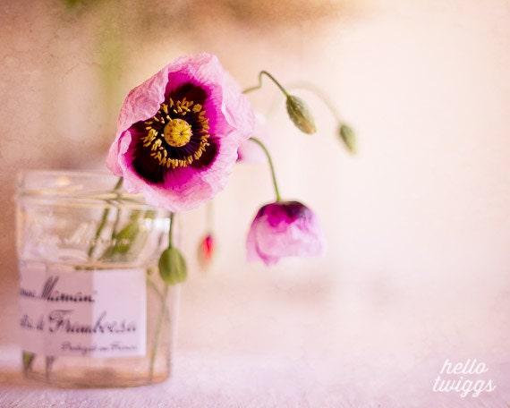 Flower Photography, Still Life Photography, Poppies Print, Jam Jar, Vintage Style, Spring Decor, Pink - Bon Maman