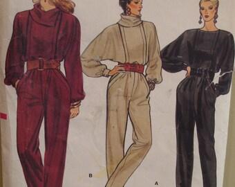 80s Batwing Sleeve Jumpsuit Pattern, Blouson Bodice, Tucks, Loose Collar, Long Sleeves, Cuffs, Slant Pockets, Vogue No. 8773 UNCUT  Size 10